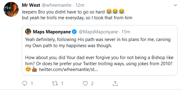 Screenshot 2019 10 10 Mr West wfreemantle Twitter - Twitter User Apologizes To Maps Maponyane In The Funniest Manner Ever