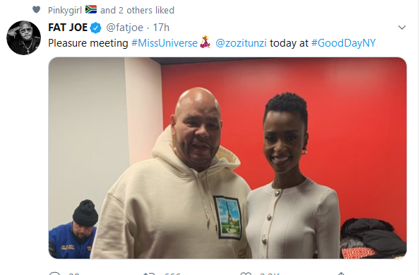Screenshot 2019 12 12 2 Home Twitter - American Rapper Fat Joe Gushes Over Meeting Zozibini Tunzi