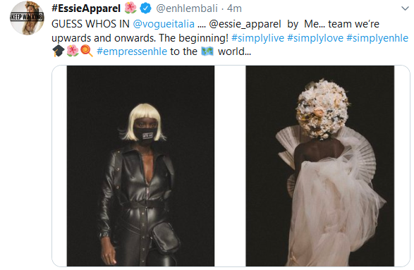 Screenshot 2020 01 06 Home Twitter1 - Levels: Enhle Mbali's Clothing Line Featured In Vogue Italia