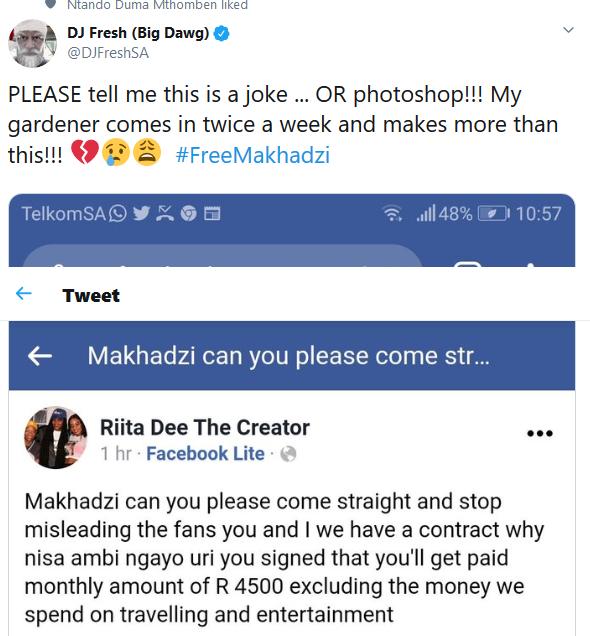 Screenshot 2020 01 07 DJ Fresh Big Dawg on Twitter PLEASE tell me this is a joke OR photoshop My gardener comes in twice ... - DJ Fresh Sympathizes With Matorokisi Hit Maker Makhadzi Who Earns Less Than His Gardener #FreeMakhadzi