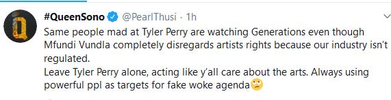 Screenshot 2020 01 07 QueenSono PearlThusi Twitter - Pearl Thusi Puts Mfundi Vundla On The Spot #TylerPerry