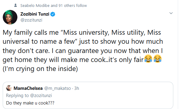 "Screenshot 2020 01 10 Zozibini Tunzi on Twitter My family calls me ""Miss university Miss utility Miss universal to name a... - Here Is What Zozibini Tunzi's Family Still Expects of Her Despite Her Being Miss Universe"