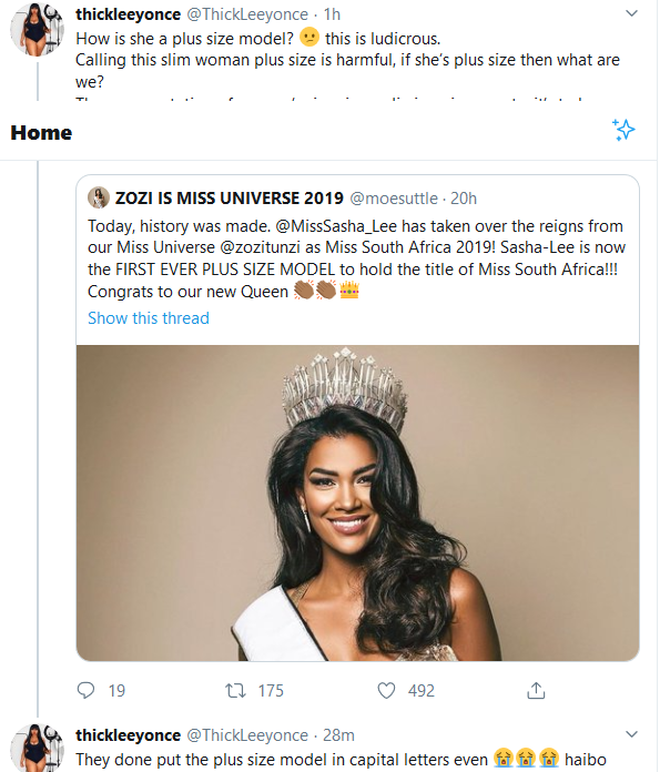 """Screenshot 2020 01 16 Home Twitter - """"How Is She A Plus Size Model?"""" Thick Leeyonce on Miss SA Sasha Lee"""