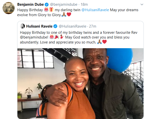Screenshot 2020 01 23 Hulisani Ravele HulisaniRavele Twitter - Twinning: Hulisani Ravele and Benjamin Dube Exchange Powerful Birthday Messages